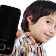 Kid with phone — Stock Photo
