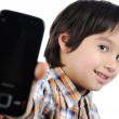 Kid with phone — Foto Stock