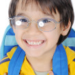 School children, cute boy with bag on back and glasses, smiling — Stock Photo