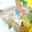 Europe map with volcano dust 1 — Stok fotoğraf