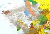 Europe map with volcano dust 1 — Stock Photo