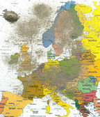 Europe map with volcano dust — Stock Photo