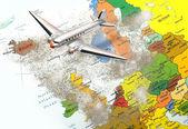 Mappa europa con polvere vulcano 3 — Foto Stock