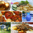 Greek cuisine collage - Stock Photo