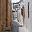 Street in Lindos, Rhodes island — Stock Photo