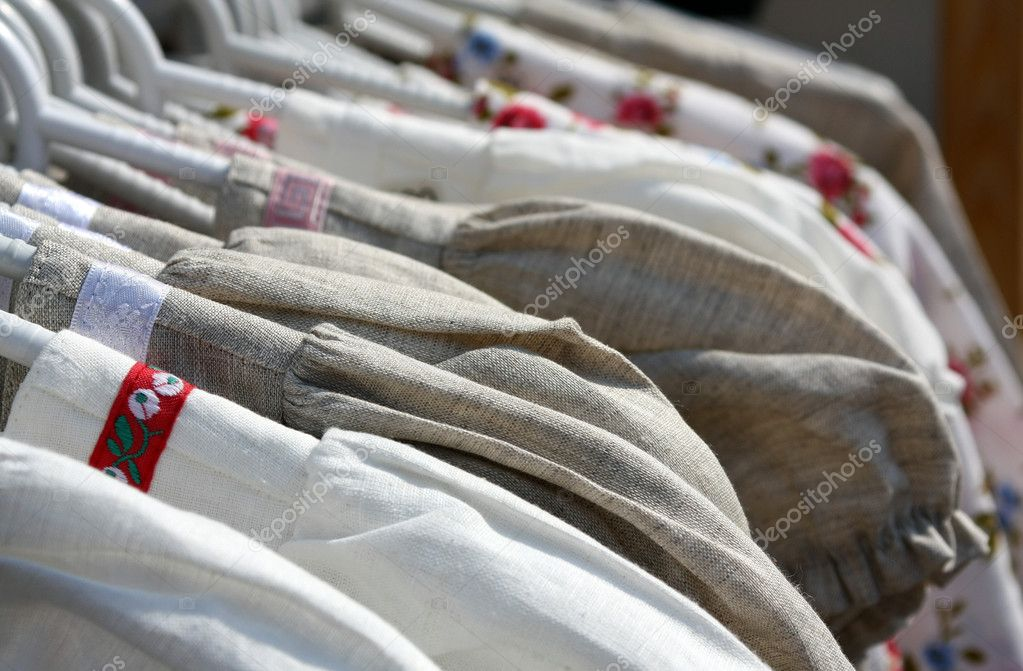 Linen handmade dresses for sale, close up — Stock Photo #3767245