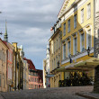 Old Tallinn street in summer morning - Stock Photo