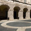 Cobblestone paving of an itallian square - Foto Stock