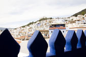White houses on the mountain slope in royal town Tetouan near Tangier, Morocco — Stock Photo