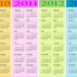calendario 2010, 2011, 2012, 2013 — Vettoriale Stock  #3109374