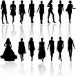 Models on fashion runaway — Stock Vector