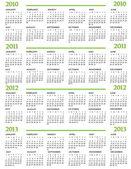 Kalender 2010, 2011, 2013 en 2012 — Stockvector