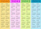 日历 2010、 2011年、 2012年、 2013年 — 图库矢量图片