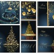 Merry Christmas and Happy New Year collection — Image vectorielle