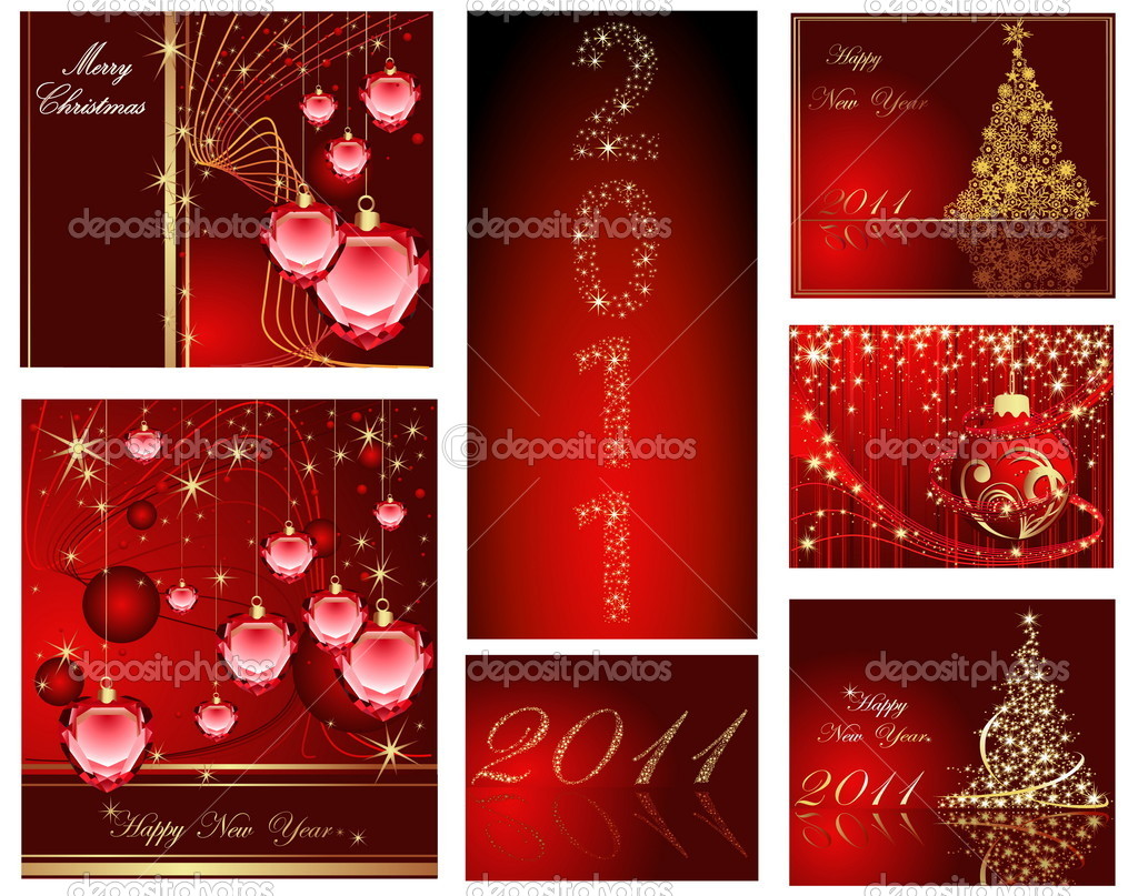 Merry Christmas and Happy New Year collection — Stok Vektör #3286083