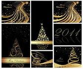 God jul och gott nytt år samling — Stockvektor