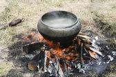 2 火上の鍋で調理します。 — ストック写真