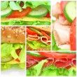 Collage of  fresh sandwiches - Foto Stock