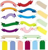 En uppsättning av banderoller och etiketter — Stockvektor