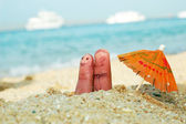 Funny finger family couple on vacation — Stock Photo