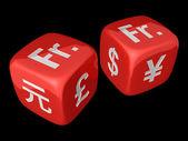 Swiss Franc dices — Stock Photo