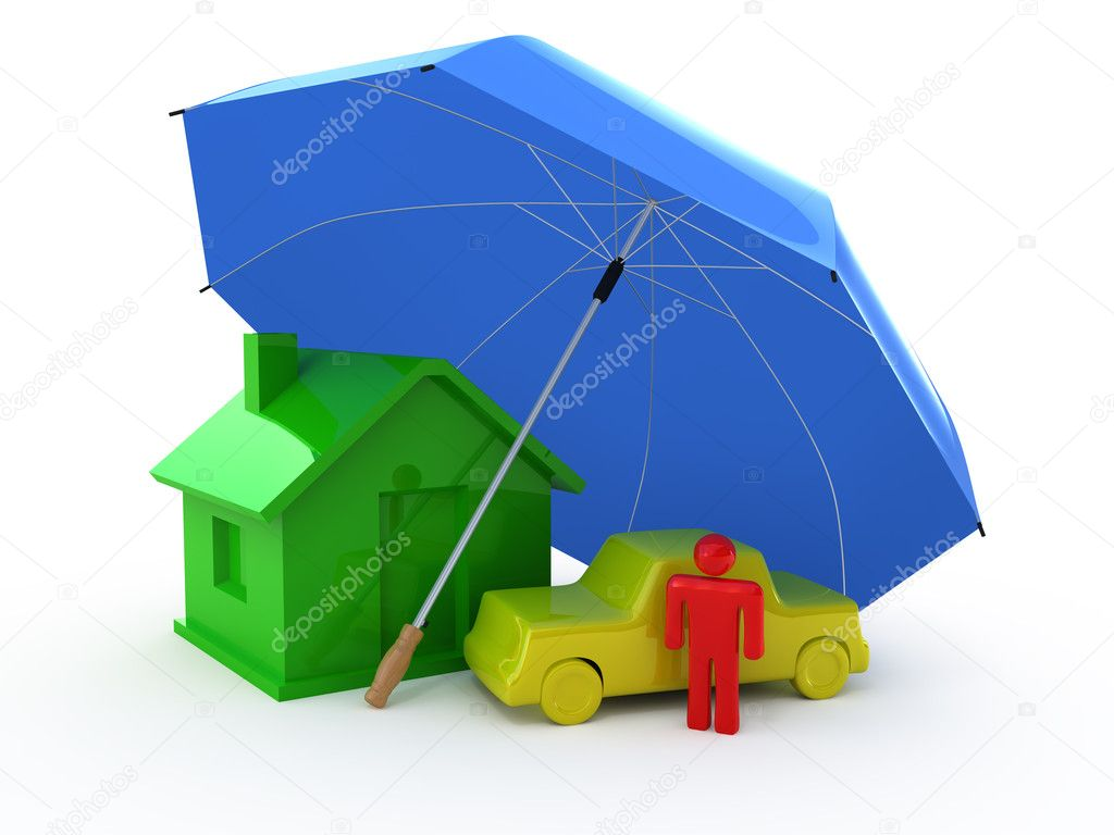 Home Insurance, Life Insurance, Auto Insurance - Stock Image