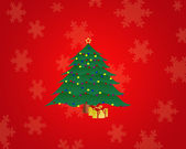 Christmas tree on the red background — Stock Photo