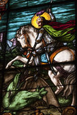 Stain glass depicting saint george — Stock Photo