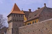 Defensa muro y torre en sibiu — Foto de Stock