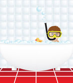 Child in bath with snorkel — Stock Vector