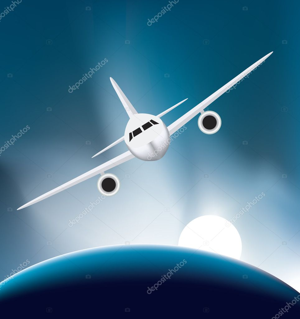 Airplane soaring high up above the earth — Stock Vector #2770432