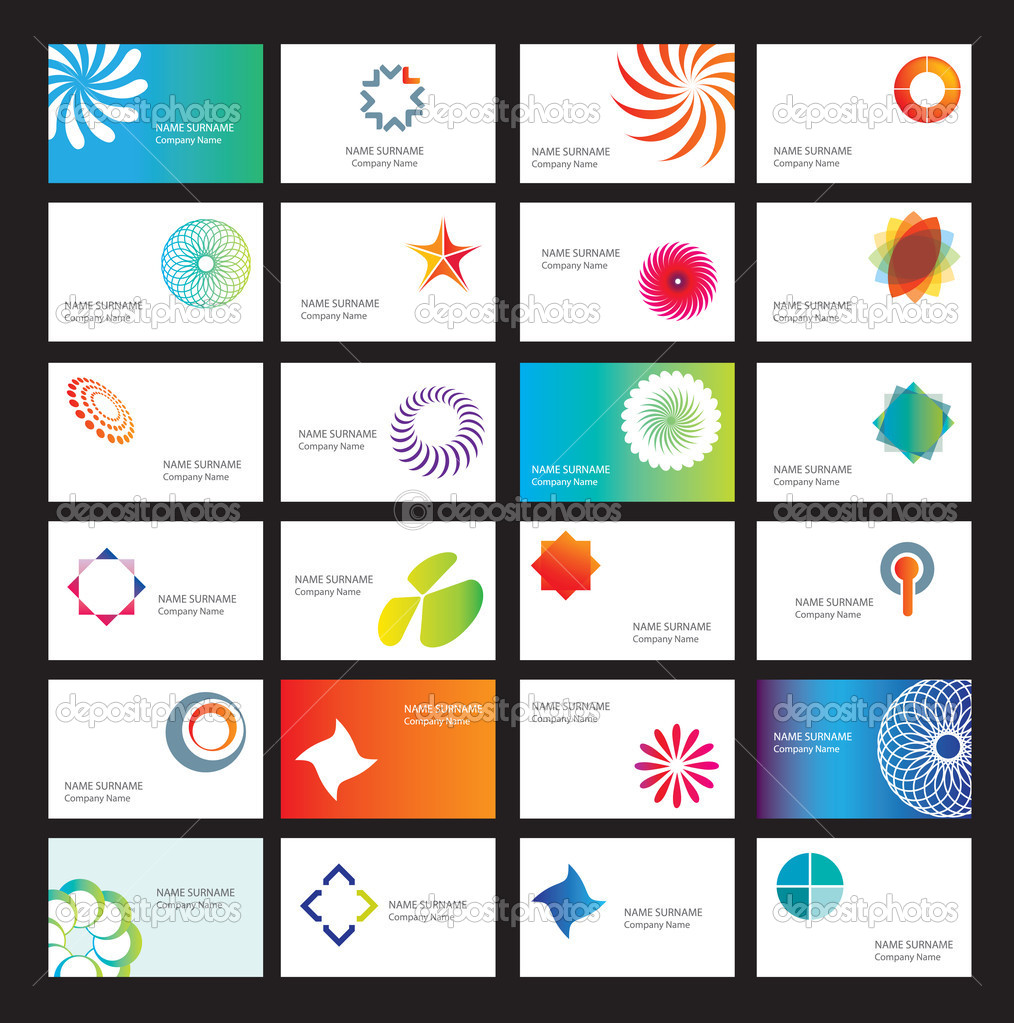 Set of white business cards with design elements — Imagen vectorial #2770459