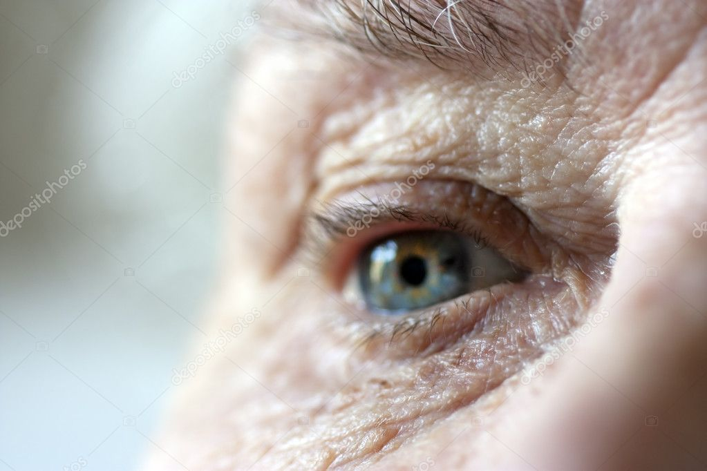 Very short depth of field focused on inner eye and wrinkles around eye in foreground — Stock Photo #2811064