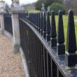 Close up of park iron railings - Stok fotoğraf