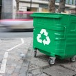 Recycling bin in the city — Stock Photo