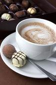 Hot chocolate and truffles — Stock Photo