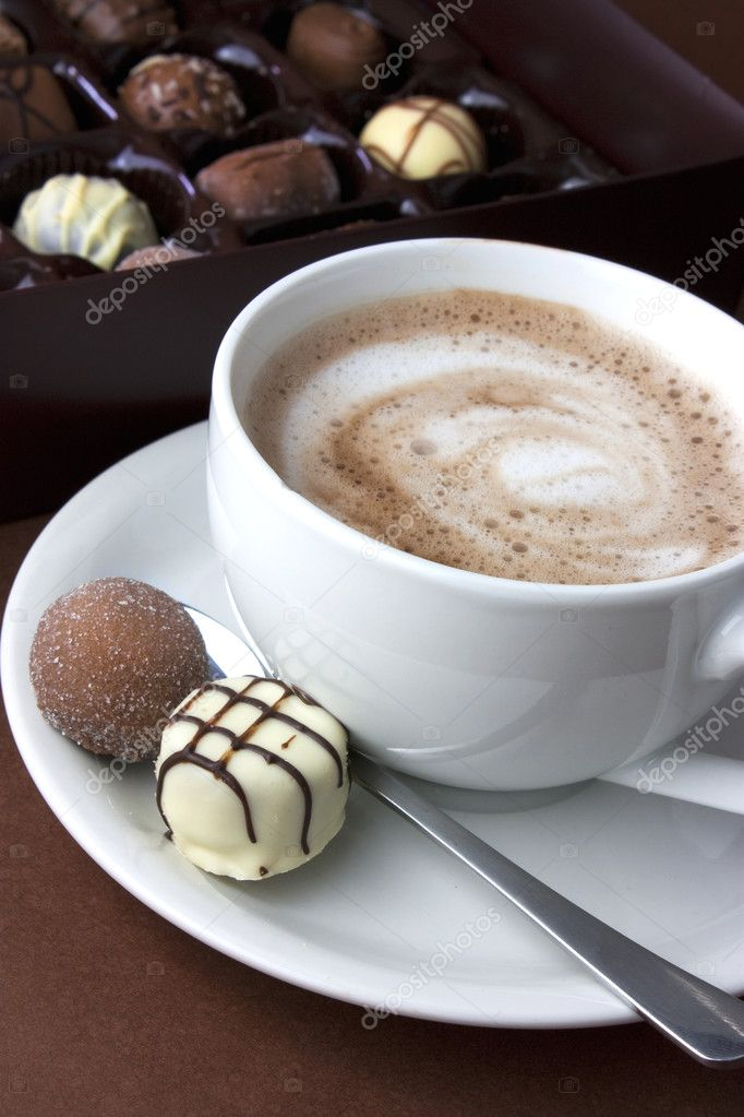 Hot chocolate and truffles viewed from above — Stock Photo #2839104