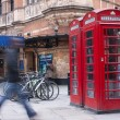 Red phone boxes in london — 图库照片