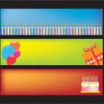 Happy birthday website banners — Stock Vector