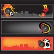 Urban music website banner set - Stock Vector