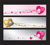 Hearts website banner set — Stock Vector