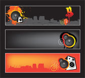 Urban music website banner set — Stock Vector