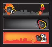 Urban music website banner set — Stock Vector
