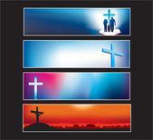 为现代基督徒设置的网站横幅 — 图库矢量图片