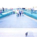 Busy millenium bridge in london — Stock Photo