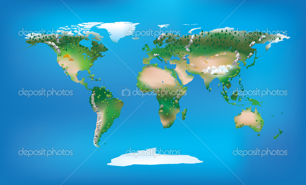 World map full colour and detailed land type and trees and mountains — Stock Photo #3059555