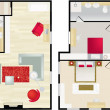 Typical floorplan of s house — Stock Vector