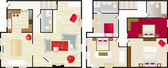 Typical floorplan of s house — Stockvector
