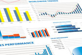 Sales performance and business graphs — Stockfoto