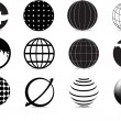 Globe icons — Vector de stock